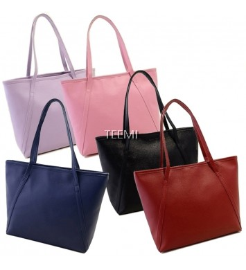 Elegant Faux Leather Large Shopper Tote Bag