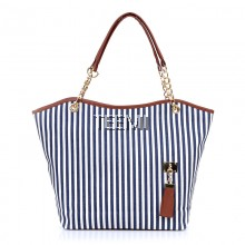 Casual Beach Stripe Metal Chain Shopper Tote Bag