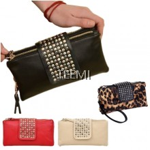 Punk Rivet Wristlet Clutch Faux Leather Handheld Purse Wallet