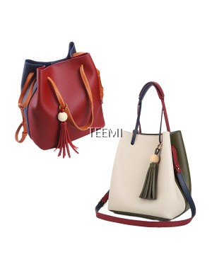 Duo Color Large Bucket 2 way Shoulder Sling Bag Faux Leather FREE Pouch