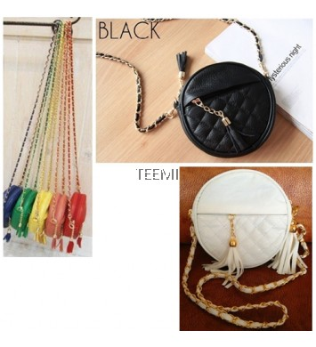 Stone Round Quilted Mini Sling Bag Faux Leather Tassel Metal Chain