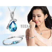 Droplet Angel Tear Drop Crystal Pendant Necklace FREE Bracelet