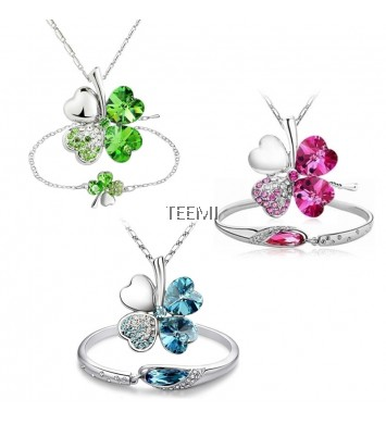 Clover Flower Crystal Pendant Necklace FREE Bracelet
