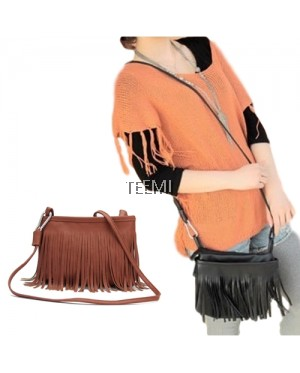 Retro Vintage Tassel Fringe Faux Leather Crossbody Sling Bag