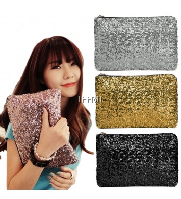 Sequins Metallic Glitter Clutch Evening Dinner Purse Dazzling Party Bag