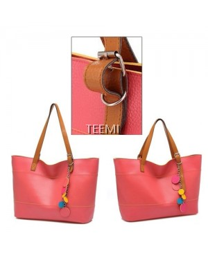 Candy Color Faux Leather Large Tote Bag Adjustable Handle Top Zipper