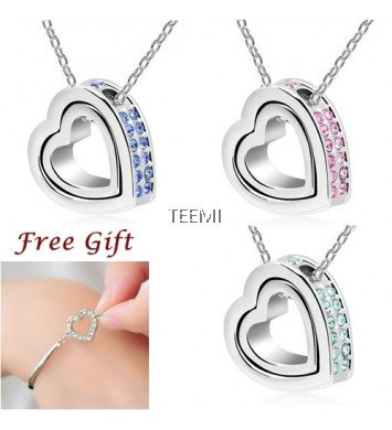 Double Love Heart Diamond Rhinestone Pendant Necklace FREE Bracelet Set