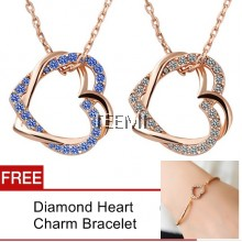 Love Knot Diamond Rhinestone Pendant Necklace FREE Bracelet Set