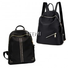 Gold Tone Chic Style Waterproof Nylon Backpack Rivet Zipper