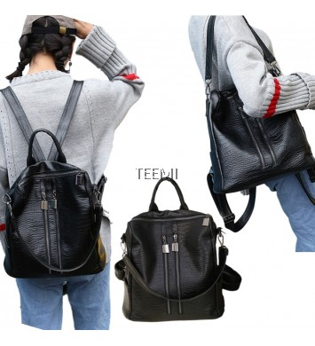 Double Zipper 2 way Textured Faux Leather Backpack Shoulder Bag