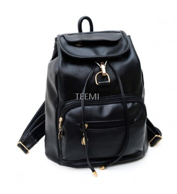 Chic Street Style Faux Leather Backpack Hand Bag Casual Rucksack Cabin Hook Drawstring Korean Drama