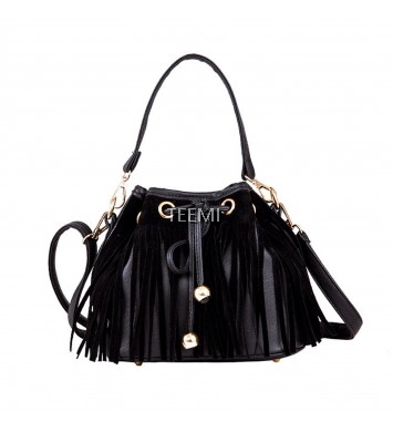 Fringed Bucket Drawstring 3 way Faux Leather Feminine Crossbody Handcarry Black Tote Shouder Bag