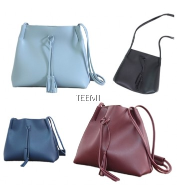 Simple Match Triangle Trapeze PU Faux Leather Vintage Tassel Casual Tote Shopper Bag Skinny Strap
