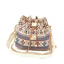 Tribal Art Boho Ethnic 2 way Bucket Bag Metal Chain Vintage Canvas Pearl Crossbody Shoulder Tote