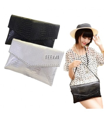 Metallic Envelope Clutch Textured PU Faux Leather Shoulder Bag Glitter Evening Party Handheld Purse