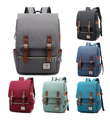 Premium Canvas Laptop Bag Korean Buckle Vintage Travel Backpack