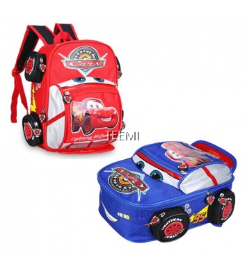 3D McQueen Preschool Primary Junior Vinyl Sports Car Kids Children School Bag Backpack