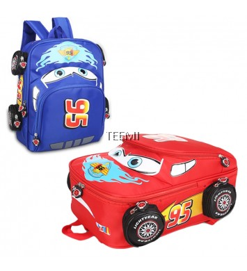 3D McQueen Solid Wheels Pocket Sports Car Kids Children Junior School Bag Backpack