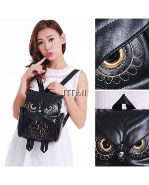 Fashion Women Animal Owl Backpack Faux Leather Vintage Gothic Style Embroidered Bag