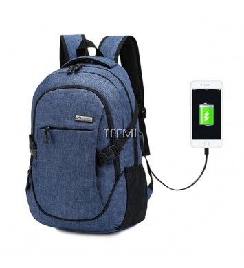 USB Travel Laptop Backpack - Dark Blue
