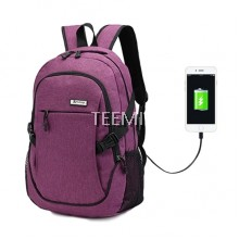 USB Travel Laptop Backpack - Purple