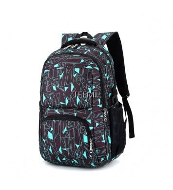 Geometric Printing Nylon Backpack - Black