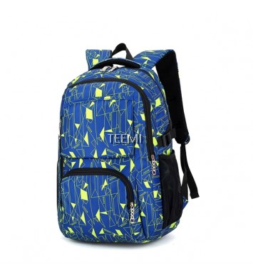 Geometric Printing Nylon Backpack - Blue