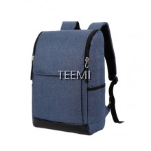"Flap Zip Closure Solid 15.6"" Laptop Backpack - Dark Blue"