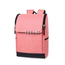 "Flap Zip Closure Solid 15.6"" Laptop Backpack - Pink"