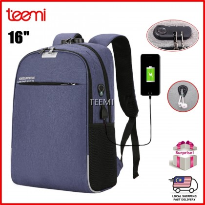 "TEEMI Anti-theft 16"" Laptop Backpack Bag USB Charging Port Password Lock Headphone Earphone Hole Patch Tech Bag Water-Resistant Travel Organizer"