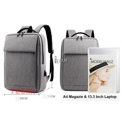 Flap Top 14 15 Inch Laptop Backpack with USB Port